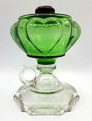 Queen Hearts Antique Finger Oil Lamp Green Clear Eapg Dalzell Gilmore Leighton
