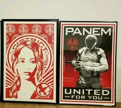 Lot Of 2 Hunger Games Posters Exhibition Serigraph Screenprint 24×36 Rare Htf