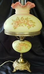 Rare Louise Piper Fenton Burmese Hand Painted Roses Lamp- Signed/dated Gorgeous