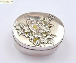 1930and039s Japanese Sterling Silver Enamel Kogo Incense Box Flower Marshall Field