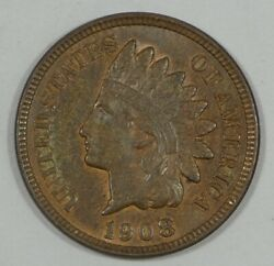 1908 Indian Head/oak Wreath Rev Cent Almost Uncirculated 1-cent