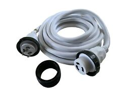 Amp Up 30a 125v X 25and039 Marine Shore Power Boat Cord White 30 25 Volt Foot Ft New