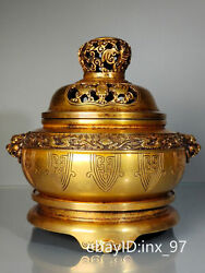 9.6 China Collection Old Copper Gilt Dragon Pattern Three-tiered Incense Burner