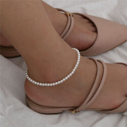 Fashion Boho Simple Ankle Bracelet Pearls Silver Plated Anklet Chains Beads New