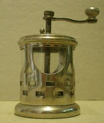 Antique Pierced Metal And Crystal Pepper Mill Cab
