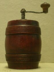 Antique Treen Fruitwood Keg Shaped Pepper Mill Cab