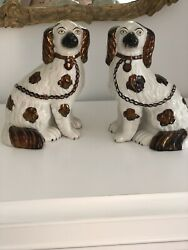 """Staffordshire Copper Luster King Charles Spaniel Dogs LRG Pair 9 1 2"""" Tall"""