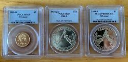 Usa 1988-w Olympic Three Coin Set 5 Gold Pcgs Ms 69 1 Silver Ms 69 And Pr 69 Dc