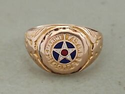 Rare Antique Ww1 10k Gold Us Marine Flying Corps Ring Sweetheart Size
