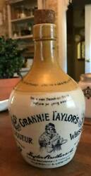 Old Antique Grannie Taylorand039s Liqueur Stoneware Whisky Whiskey Bottle Jug Marked