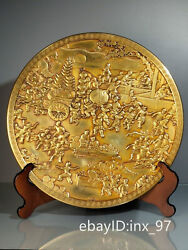 15.6 China Collection Old Copper Gilt Seiko Casting High Relief Baizitu Plate
