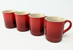 Set Of 4 Le Creuset Cups Mugs Stoneware Red Cherry 4