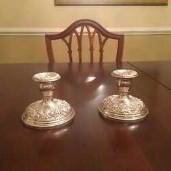 Pair S. Kirk And Son Repousse Sterling Silver Reinforced Low Candle Holders 3-5/8