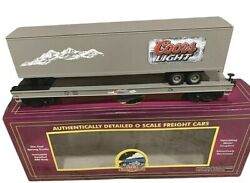 ✅mth Premier Coors Light Beer Flat Car W/ 48andrsquo Trailer 20-98605 O Scale Freight