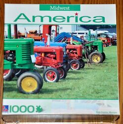 1000 Piece Midwest America Jigsaw Puzzle Farm Tractors Michigan Used