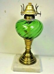 Antique Oil Lamp - Green Swirl Glass And Marble Base And 1 Burner