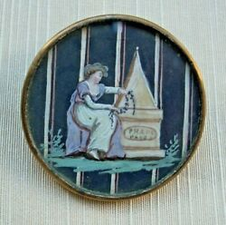 Antique 18th Century French Button Lovely Lady Sitting At Monument In Mourning