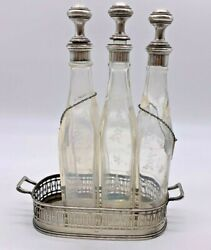 1890and039s Rare French Silver Four Piece Decanter Set By Gustave Keller Paris