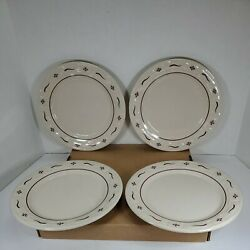 Longaberger Pottery Woven Traditions- 4 Traditional Red 10 Dinner Plates-usa
