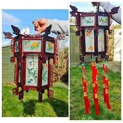 Vintage Chinese Hanging Lantern Ceiling Light Painted Glass Panels Floral Bird