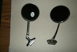 2 Vintage Chevy Ford Chrysler Hot Rod Rat Rod Side View Clamp On Side Mirrors