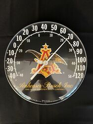 Vintage Anheuser Busch Budweiser Beer Gas Oil 12 Metal Glass Thermometer Sign