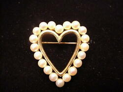 14kt Gold And Pearl Heart Pin Happy Valentines Day Vintage Brooch
