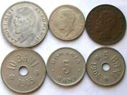 Romania Kingdom 1900-1911 Set Of 6 Coins,with 2 Silver Coins