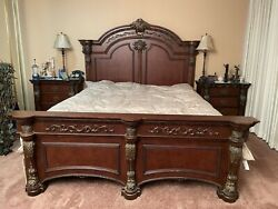Vintage Antique Solid Wood California King Headboard, Night Stands, Mattress