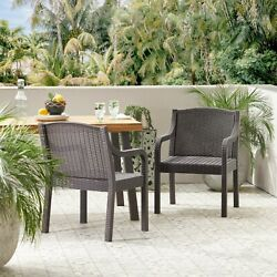 Covecrest Outdoor Faux Wicker Dining Chairs, Set Of 2, Dark Brown