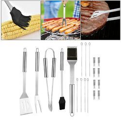 Bbq Grill Tool Set Fork Tongs Skewers Barbecue Grilling Kitchen Utensils