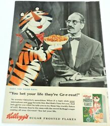 Kelloggs Tony Tiger Vintage 1955 Groucho Marx Cereal Ad Sugar Frosted Flakes