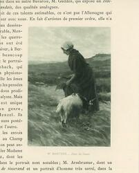 Antique Country Girl Farmer Sickle Crop Field Goat Animal Nature Small Art Print