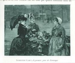 Antique Victorian Woman Flowers Umbrella First Day Of Spring Miniature Art Print