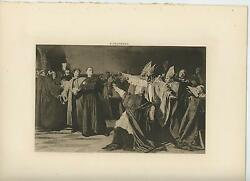 Antique Martin Luther Before Council Of Worms Ecclesiastical Church Old Print