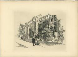 Antique St Johns College Oxford England Ivy Joseph Pennell Etching Art Print