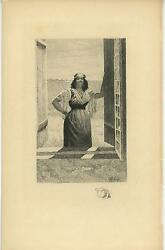 Antique Gypsy Woman Tinsel Crown Amulet Earrings Queen Remarque Etching Print