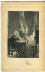 Antique Victorian Card Game Candle Light Butler Serving Tea Cupid Etching Print