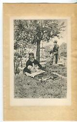Antique Mother New Baby Cuddling Playing Meadow Fisherman Fishing Pole Art Print