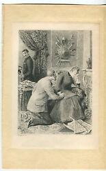 Antique Girl Crying Handsome Man Monocle Medieval Weapons Armour Fireplace Print