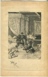 Antique Artistic Nude Woman Canopy Bed Sword Fight Duel Etching Remarque Print