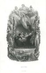 Antique Candle Supper Soldier Flag Angel Cherub Nude Woman Allegory Print