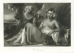 Antique Artistic Nude Woman Wine Pitcher Panther Face Old Miniature Small Print