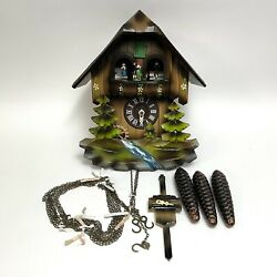 Vintage Cuckoo Clock Cuendet Swiss Musical Movement For Parts Or Repair