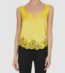 $630 Givenchy Women#x27;s Yellow Sleeveless Floral Lace Camisole EU Size 34 US 2 $215.96