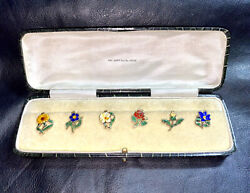 Atq Boxed Silvergilt+enamel🍹drink Glass Markers🍸never Loose Your Glass Again