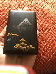Vintage Japanese Hand-painted Wooden Lacquer Box Gold Makie Mt Fuji