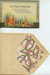 Vintage 1930and039s Garden Gladiolus Flowers Fence Motto Birthday Gold Greeting Card