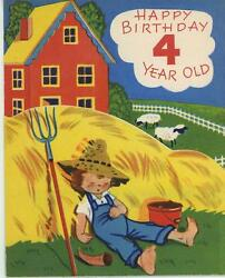 Vintage Cute Farm Boy Famer Sheep Cows Red House Chicks 4 Years Old Card Print