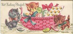 Vintage Gray Cats Play Sew Basket Button 1 Cally Lily Lily Pads Pond Garden Card